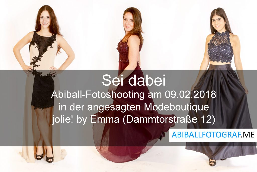 Kostenloses Abiball Fotoshooting am 09.02.2018 bei uns in der Boutique